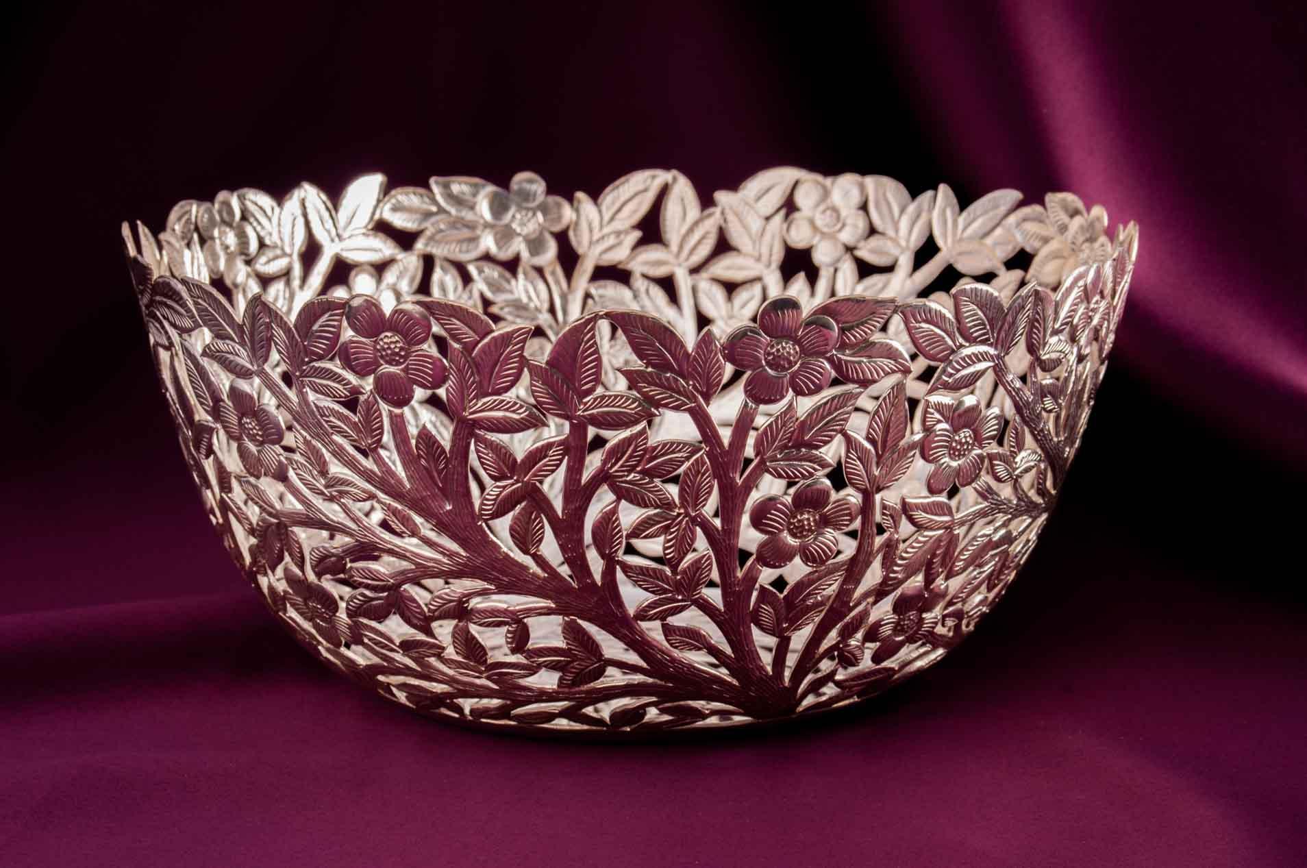 designer flower silver bowl 5