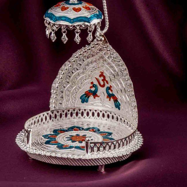 silver idol stand singhasan 2