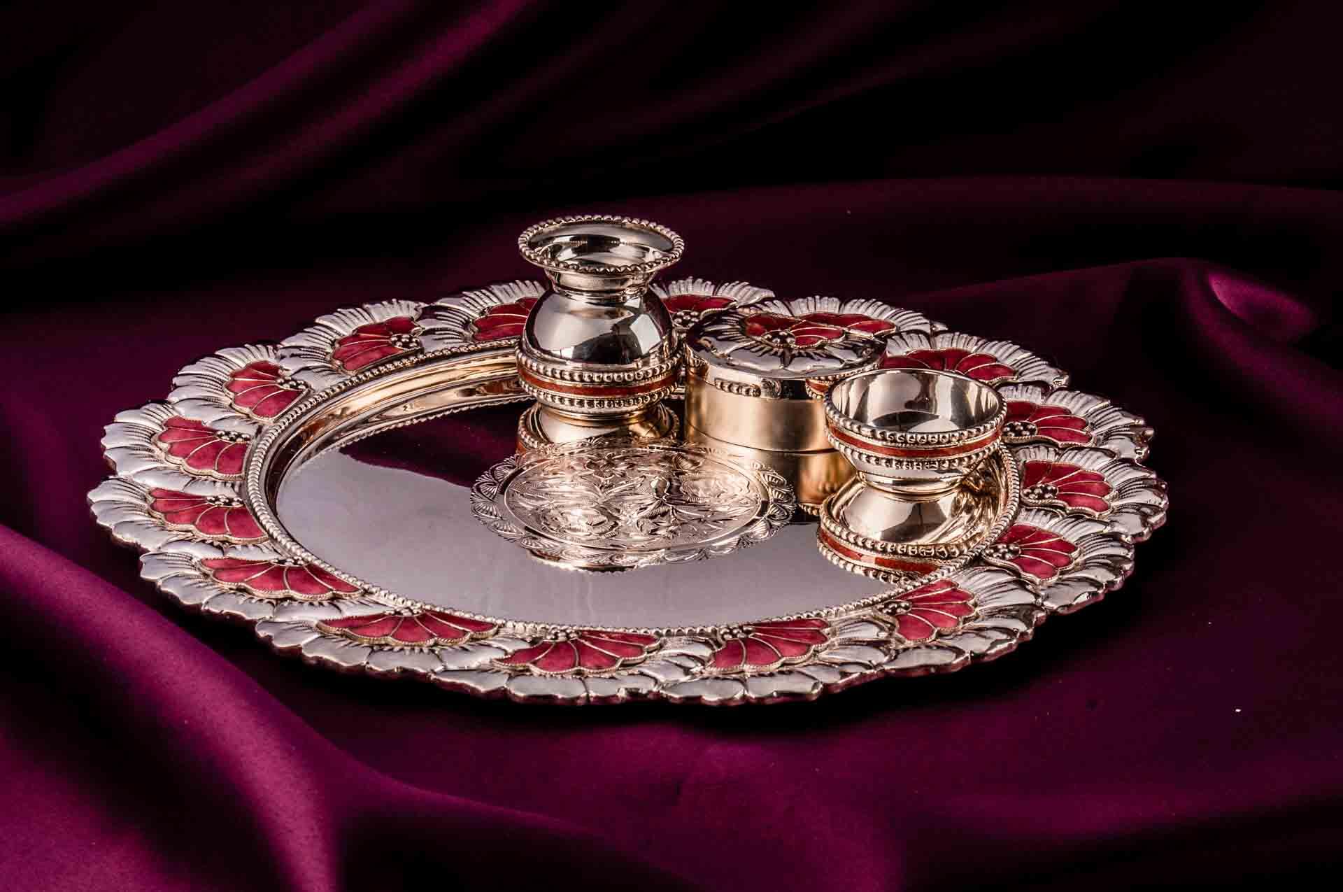 silver puja aarta thali set plate 1